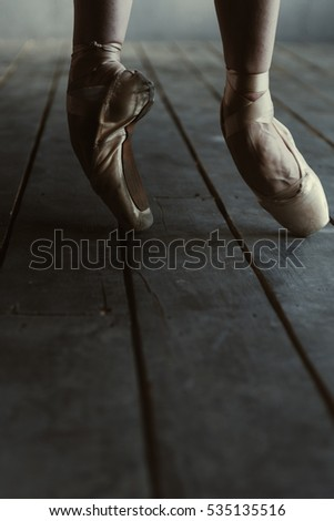 Ballet dancer standing on the tiptoes and stretching