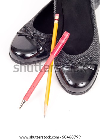 Ballet Flat Shoes with Pen and Pencil - stock photo
