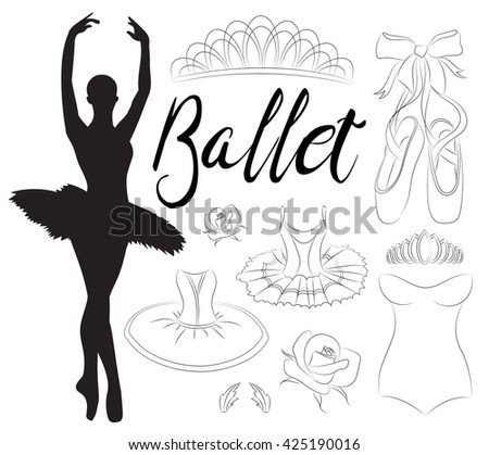 Ballet icon set with ballet shoes, ballet tutu, ballerina, applause.  - stock photo