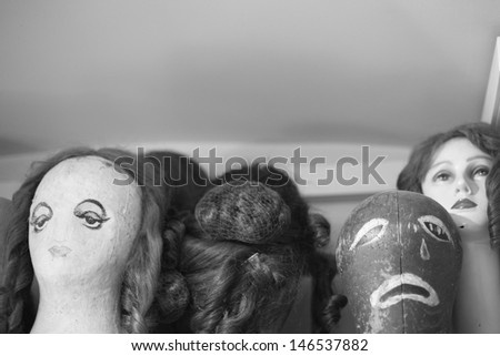 Ballet wigs on mannequin - stock photo