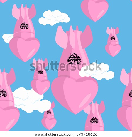 ballistic missile bomb love. Aerial bombardment of love. Heart bombs fall on ground. Torpedoes Valentines day. Weapons of mass destruction. Pink shells, charged love. Bombing of February 14  - stock photo