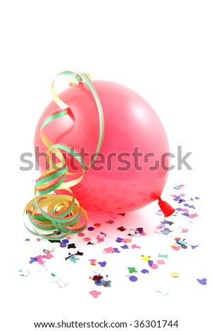 Balloon and party streamers for birthday isolated on white background - stock photo