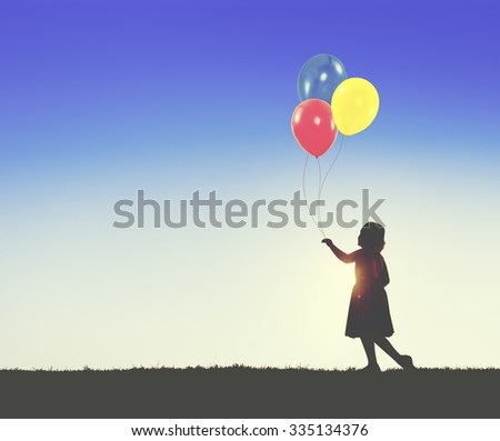 Balloon Children Child Childhood Cheerful Leisure Concept - stock photo