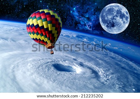 Balloon Earth moon space stars wonderland dreamland. Elements of this image furnished by NASA. - stock photo