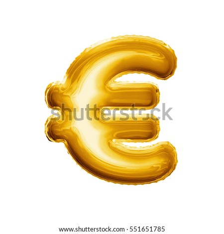 Balloon Euro Currency Symbol Realistic 3d Stock Illustration