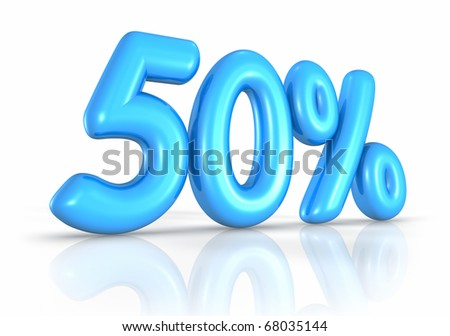 Balloon fifty percent, isolated on white background. 50% - stock photo