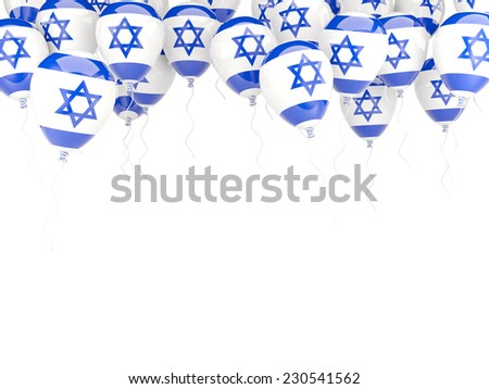 Balloon frame with flag of israel isolated on white - stock photo