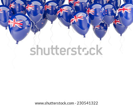 Balloon frame with flag of new zealand isolated on white - stock photo