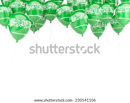 Balloon frame with flag of saudi arabia isolated on white - stock photo