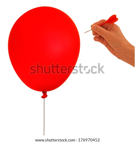 Balloon goes bang, pop etc. Business financial metaphor. Isolated over white background. - stock photo