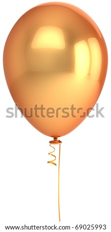 Balloon gold birthday party single blank golden 1 one empty. Anniversary graduation retirement holiday decoration classic. Luxury design element. 3d render isolated on white background