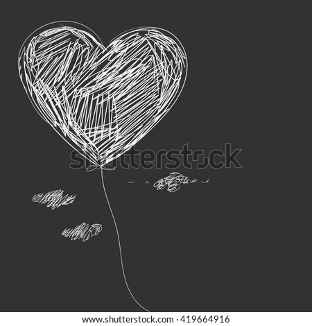 Balloon - heart. Hand drawing. - stock photo