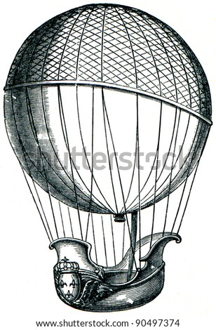 balloon of Charles, and brothers Robert, 1784  - an illustration of the encyclopedia publishers Education, St. Petersburg, Russian Empire, 1896 - stock photo