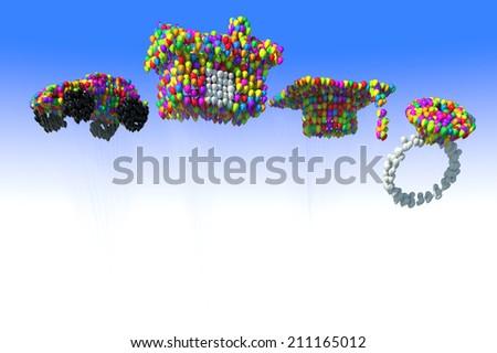 Balloon of joy in the sky - stock photo