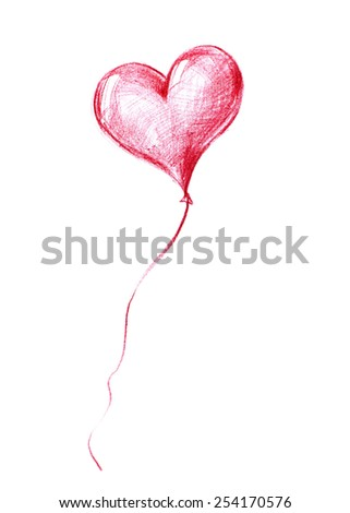 Balloon of St. Valentine's Day flying to the sky.Graphic illustration in Pencil Drawing - stock photo