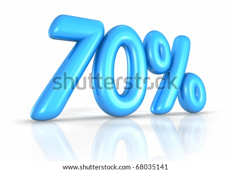 Balloon seventy percent, isolated on white background. 70% - stock photo