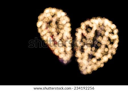 Balloon shape of bokeh with black background