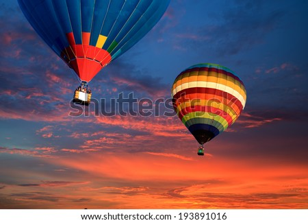 Balloon travel in Doi Inthanon National park in the sunrise and main road at Chiang Mai Province, Thailand - stock photo