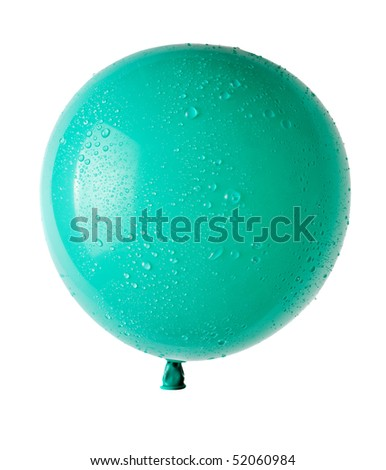 balloon with water drops isolated on white - stock photo