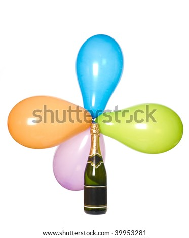 Balloons and champagne - stock photo