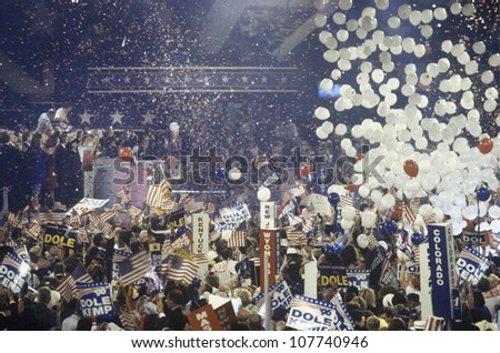 Balloons and confetti dropping as Dole is nominated at the Republican National Convention in 1996, San Diego, CA - stock photo