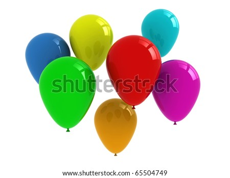 Balloons background isolated on white background