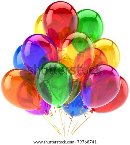 Balloons birthday party celebrate decoration multicolor balloon baloons. Happy joy fun icon. Holiday anniversary celebration occasion life events greeting card. 3d render isolated on white background - stock photo