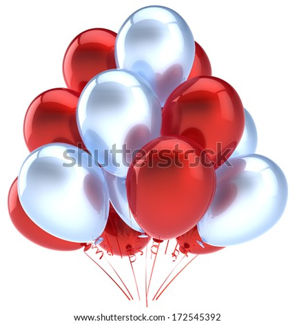 Balloons birthday party decoration red silver balloon. Holiday anniversary retirement celebration icon. Happy joy fun positive good emotion greeting card. 3d render isolated on white background - stock photo