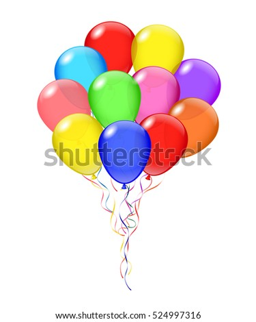 Balloons bunch isolated on white background.