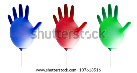 balloons cleaning gloves isolated on white background - stock photo