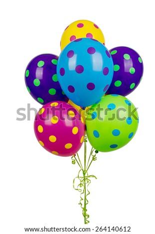 Balloons, colorful polka dot, isolated - stock photo