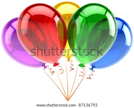 Balloons five party birthday decoration translucent multicolored. Happy joy fun abstract. Holiday anniversary retirement graduation celebrate concept. Detailed 3d render. Isolated on white background - stock photo