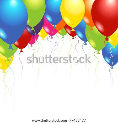 Balloons flying up in the air over white - stock photo
