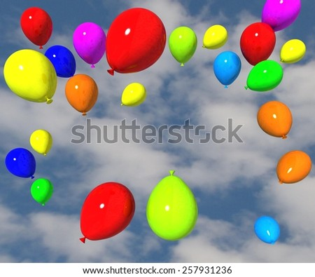 balloons free on the sky - spring coming - space for  your text  - stock photo