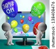 Balloons From Computer Show Sale Discount Of Thirty Percent - stock photo