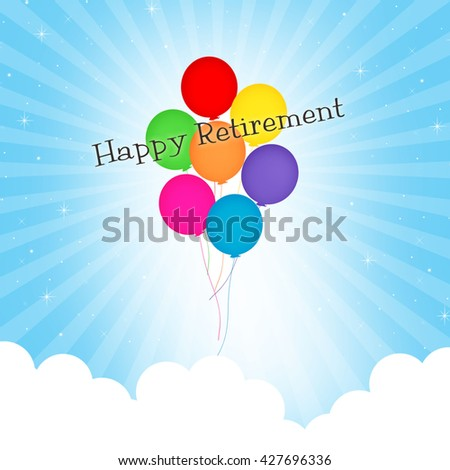 Balloons - Happy Retirement - stock photo