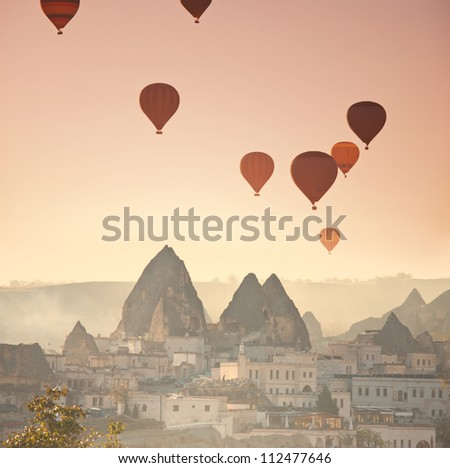 Balloons in Cappadocia,Turkey - stock photo