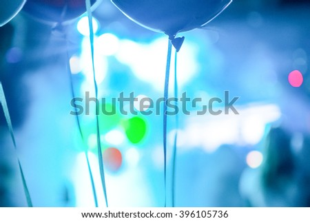 balloons in party hall - Defocused background - stock photo