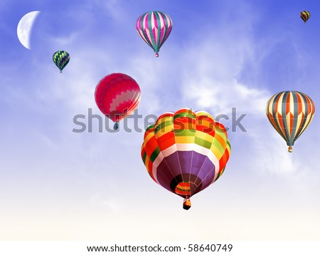 balloons in the blue sky - stock photo