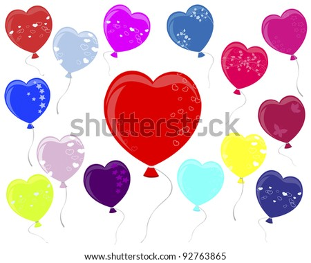 Balloons in the shape of heart with different ornaments.  Raster version.