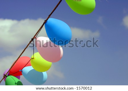 balloons in the sky. - stock photo