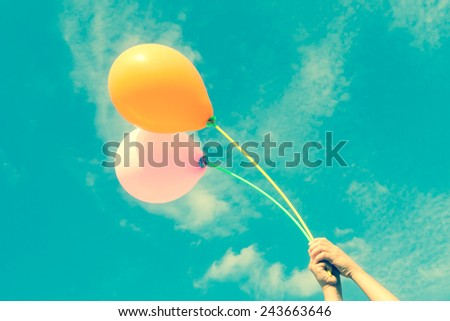 Balloons in the sky with filter effect retro vintage style - stock photo