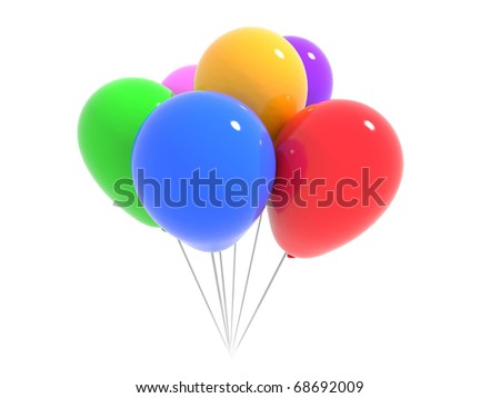 balloons of different colors grouped on white background