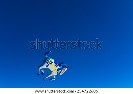 balloons of different shapes and colors sky - stock photo