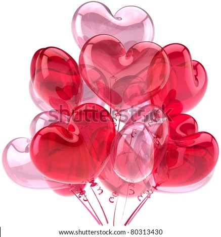 Balloons party birthday anniversary decoration heart shaped pink red. I Love You romantic greeting card. Valentines Day positive friendly emotion. Detailed 3d render. Isolated on white background - stock photo