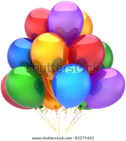 Balloons party birthday decoration multicolored classic. Happy joy fun abstract. Holiday anniversary retirement celebration concept. Detailed 3d render. Isolated on white background - stock photo
