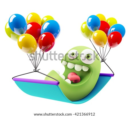 Balloons Party Emoticon Face. 3d Rendering. - stock photo