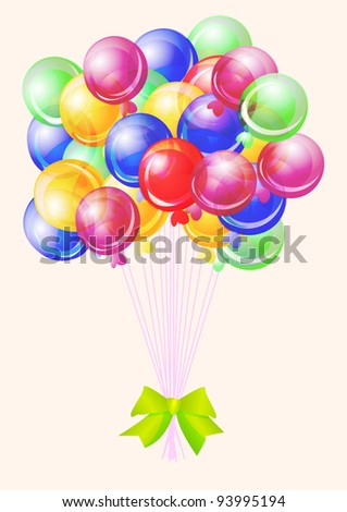 Balloons party happy birthday decoration multicolored translucent, illustration - stock photo