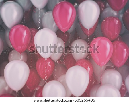 Balloons pink and white background. 3d illustration