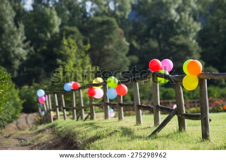 Balloons tied down to a fence in the garden.  - stock photo